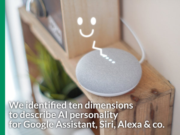 "Image of a smart speaker with teaser text ""We identified ten dimensions to describe AI personality for Google Assistant, Siri, Alexa & Co."""
